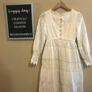 Vtg Emma Domb ivory lace boho Victorian long gown